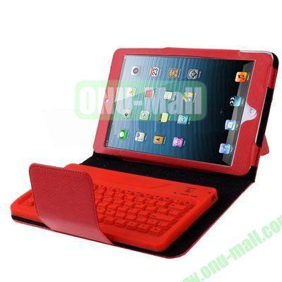 2 in 1 Bluetooth 3.0 Keyboard Leather Case for iPad MiniiPad Mini 2 Retina with Holder (Red)
