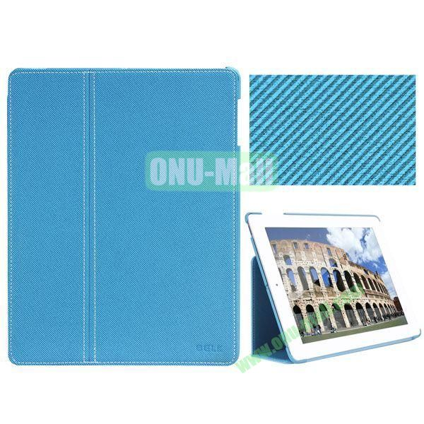 BELK Series Fabric Texture Ultrathin PU Leather Smart Cover for iPad Mini 2 with Holder (Blue)