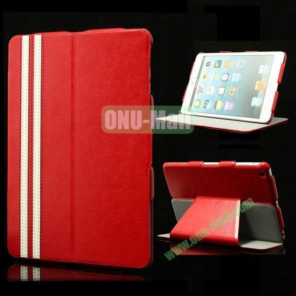 Fashional Foldable Flip Stand Leather Case for iPad Mini Retina  iPad Mini 3 (Red)