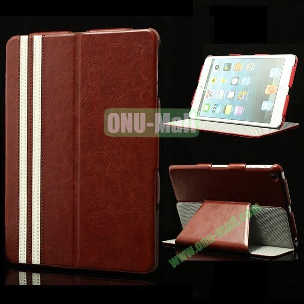 Fashional Foldable Flip Stand Leather Case for iPad Mini Retina  iPad Mini 3 (Brown)