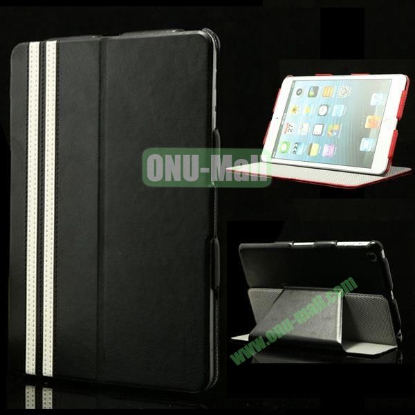 Fashional Foldable Flip Stand Leather Case for iPad Mini Retina  iPad Mini 3 (Black)