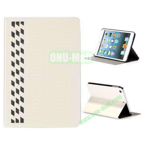 Fashion Football Texture Flip Design Leather Case with Card Slots and 3 Gears for iPad Mini Retina  iPad Mini 3 (White)