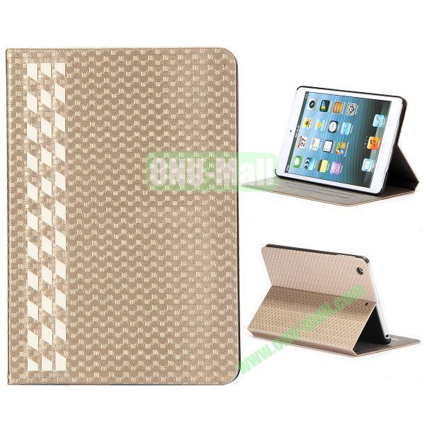 Fashion Football Texture Flip Design Leather Case with Card Slots and 3 Gears for iPad Mini Retina  iPad Mini 3 (Gold)