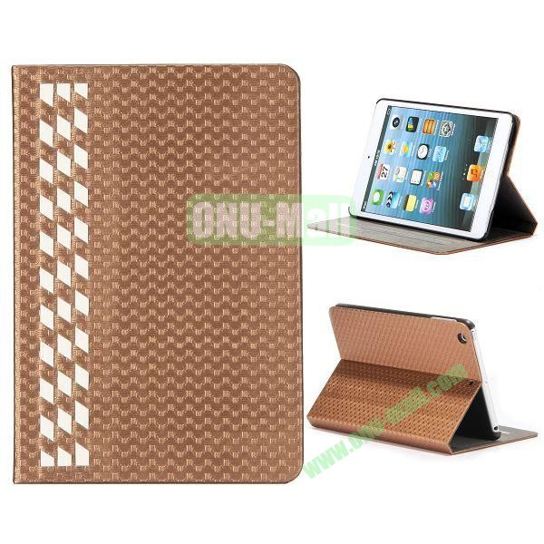 Fashion Football Texture Flip Design Leather Case with Card Slots and 3 Gears for iPad Mini Retina  iPad Mini 3 (Brown)