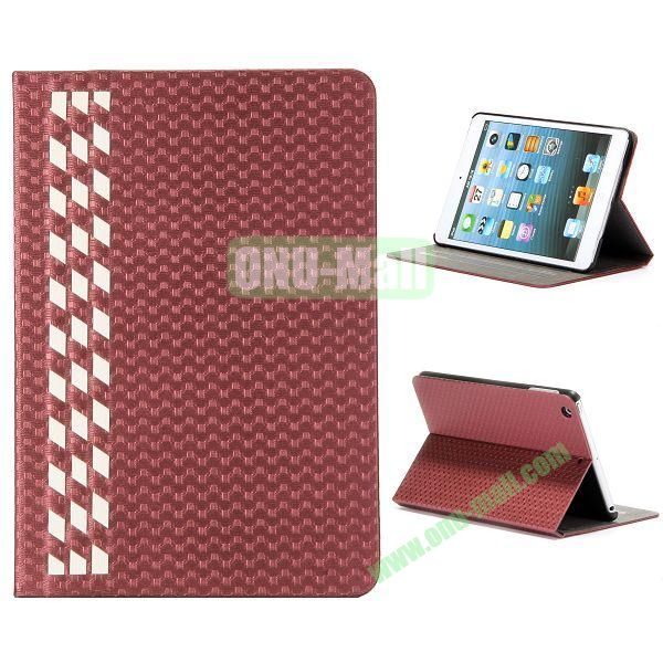 Fashion Football Texture Flip Design Leather Case with Card Slots and 3 Gears for iPad Mini Retina  iPad Mini 3 (Red)