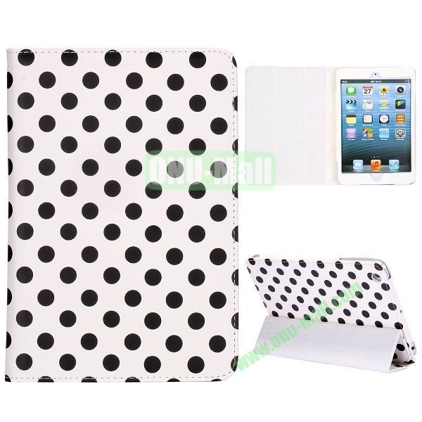 Elegance Polka Dots Pattern 3-folding Stand Leather Cases for iPad Mini iPad Mini 2 (White+Black)