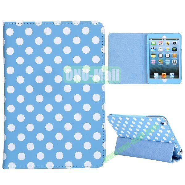 Elegance Polka Dots Pattern 3-folding Stand Leather Cases for iPad Mini iPad Mini 2 (Blue+White)