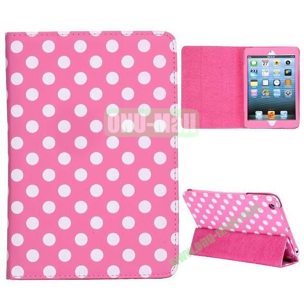 Elegance Polka Dots Pattern 3-folding Stand Leather Cases for iPad Mini iPad Mini 2 (Pink+White)