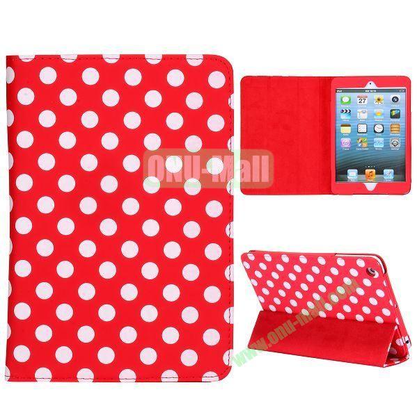 Elegance Polka Dots Pattern 3-folding Stand Leather Cases for iPad Mini iPad Mini 2 (Red+White)