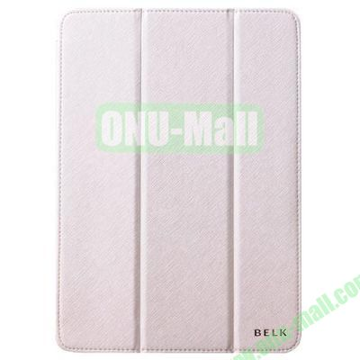 BELK series 3 Folding Cross Texture Leather Smart Cover for iPad Mini Retina  iPad Mini 3 with Stand (White)