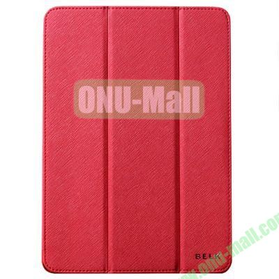 BELK series 3 Folding Cross Texture Leather Smart Cover for iPad Mini Retina  iPad Mini 3 with Stand (Red)