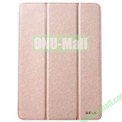 BELK series 3 Folding Cross Texture Leather Smart Cover for iPad Mini Retina  iPad Mini 3 with Stand (Gold)