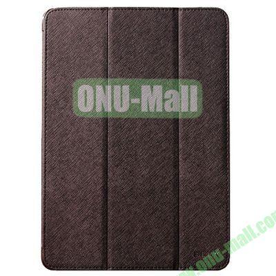 BELK series 3 Folding Cross Texture Leather Smart Cover for iPad Mini Retina  iPad Mini 3 with Stand (Brown)