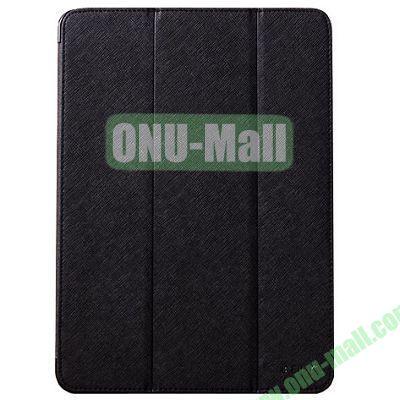 BELK series 3 Folding Cross Texture Leather Smart Cover for iPad Mini Retina  iPad Mini 3 with Stand (Black)
