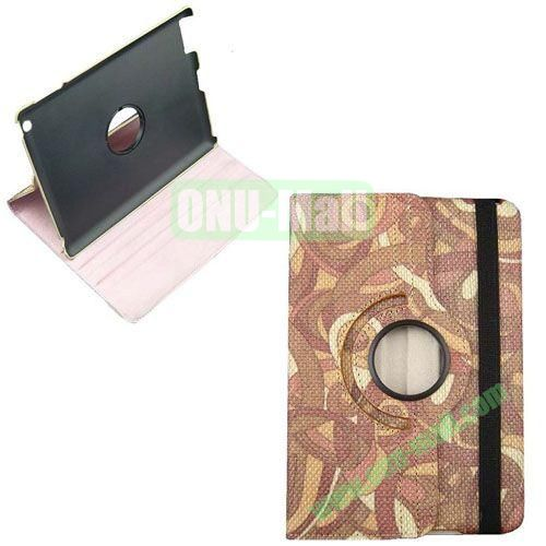 360 Rotate Degrees Colorful Style Leather Case for iPad Mini Retina (Brown)