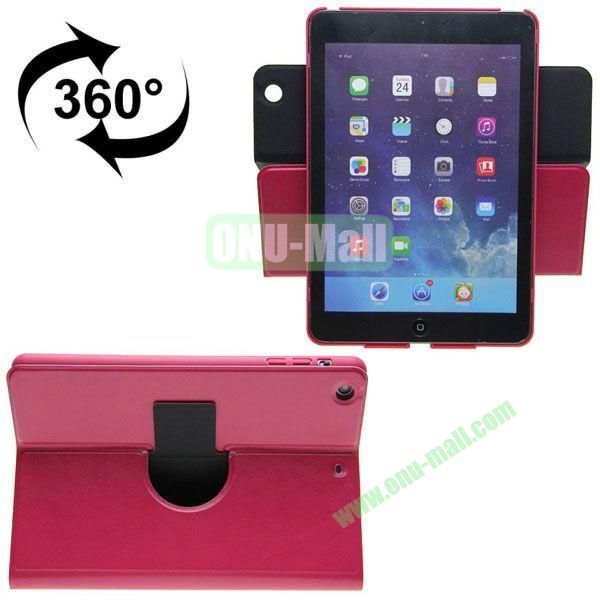 360 Degrees Rotate Crazy Horse Texture Leather Case for iPad Mini Retina (Rose)