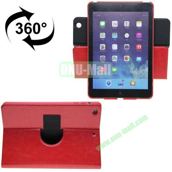 360 Degrees Rotate Crazy Horse Texture Leather Case for iPad Mini 3 (Red)