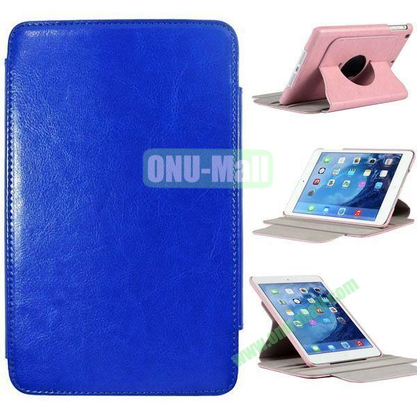 360 Degrees Rotate Crazy Horse Texture Leather Case for iPad Mini Retina with 2 Gears (Blue)