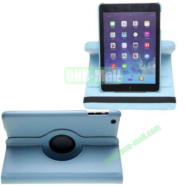 360 Degree Rotating Litchi Texture Leather Case for iPad Mini Retina (Light Blue)