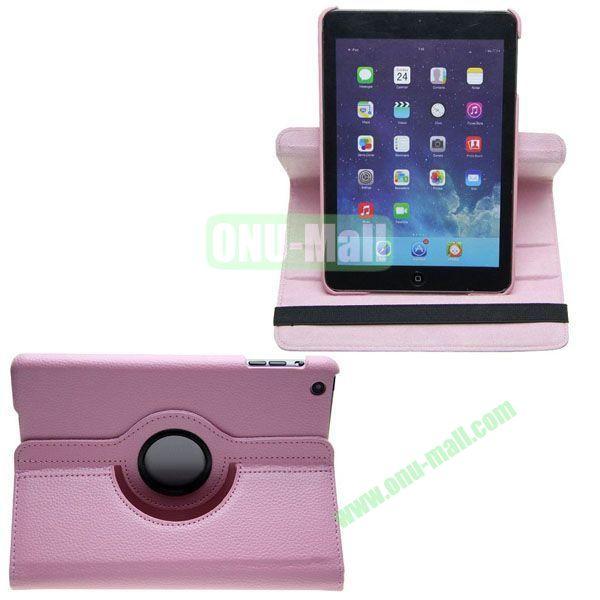 360 Degree Rotating Litchi Texture Leather Case for iPad Mini Retina (Pink)