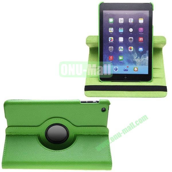360 Degree Rotating Litchi Texture Leather Case for iPad Mini 3 (Green)