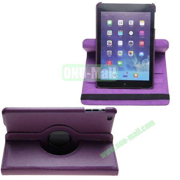 360 Degree Rotating Litchi Texture Leather Case for iPad Mini Retina (Purple)