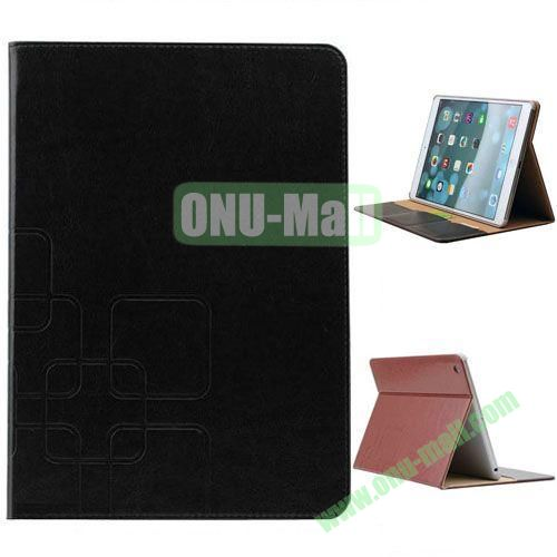 Grid Pattern Crazy Horse Texture Leather Case for iPad Mini 3 with Holder and Card Slots (Black)