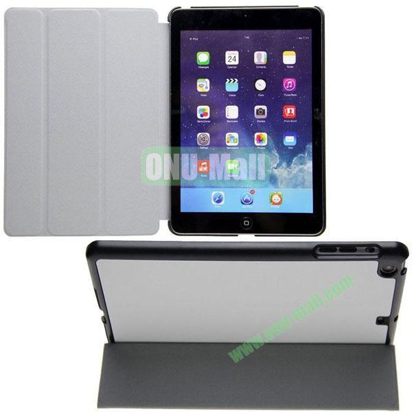 3-folding Cross Texture Flip Stand Leather Case for iPad Mini RetinaiPad Mini 3 with Wake UpSleep Function (White)