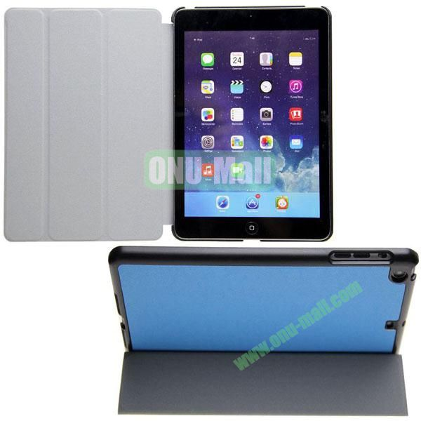 3-folding Cross Texture Flip Stand Leather Case for iPad Mini RetinaiPad Mini 3 with Wake UpSleep Function (Blue)