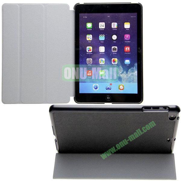 3-folding Cross Texture Flip Stand Leather Case for iPad Mini RetinaiPad Mini 3 with Wake UpSleep Function (Black)