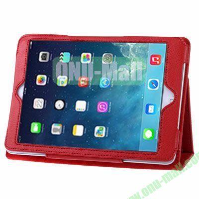 Litchi Texture Leather Case with Holder for iPad Mini RetinaiPad Mini 3 (Red)