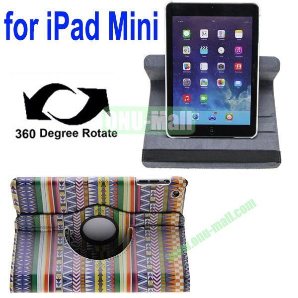 360 Degrees Rotate Tribe Pattern Leahter Case for iPad MiniMini RetinaiPad Mini 3 with 2 Gears
