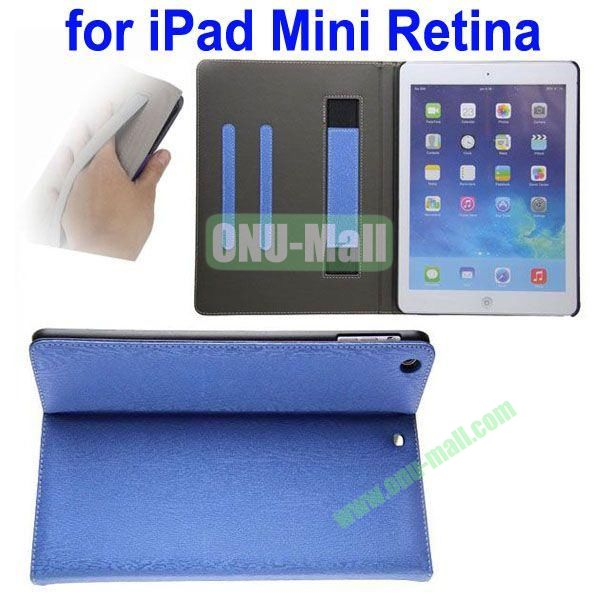 Double Color Canvas Texture Leather Case for iPad Mini 2Mini RetinaiPad Mini 3 with 3 Gears Holder (White+Blue)