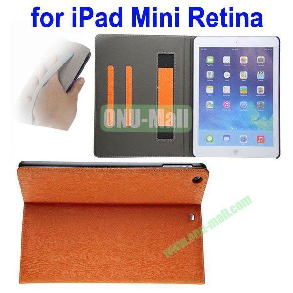 Double Color Canvas Texture Leather Case for iPad Mini 2Mini RetinaiPad Mini 3 with 3 Gears Holder (White+Orange)