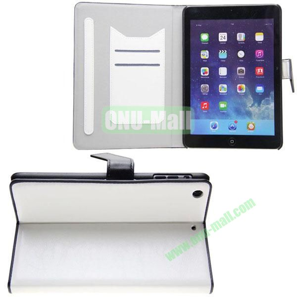 Double Color Crazy Horse Texture Leather Case for iPad Mini Retina  iPad Mini 3 With Gear Holder and Card Slots (White+Black)