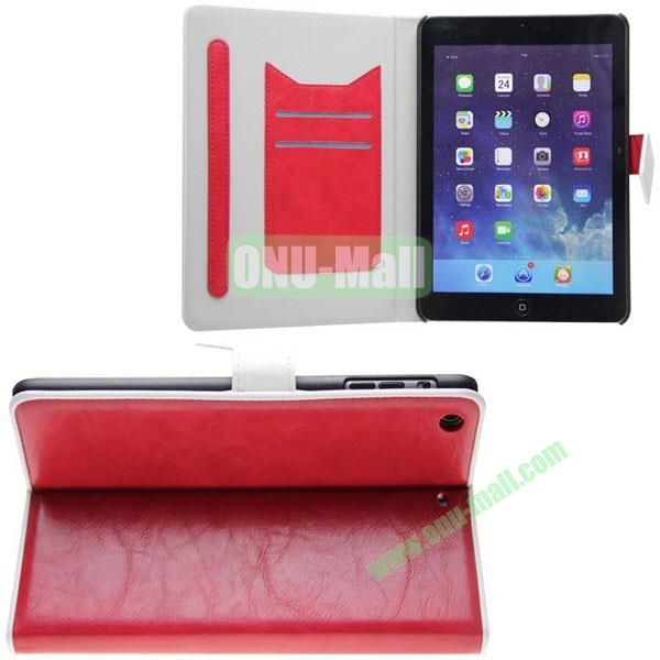 Double Color Crazy Horse Texture Leather Case for iPad Mini Retina  iPad Mini 3 With Gear Holder and Card Slots (Red+White)