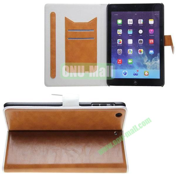 Double Color Crazy Horse Texture Leather Case for iPad Mini Retina  iPad Mini 3 With Gear Holder and Card Slots (Brown+White)