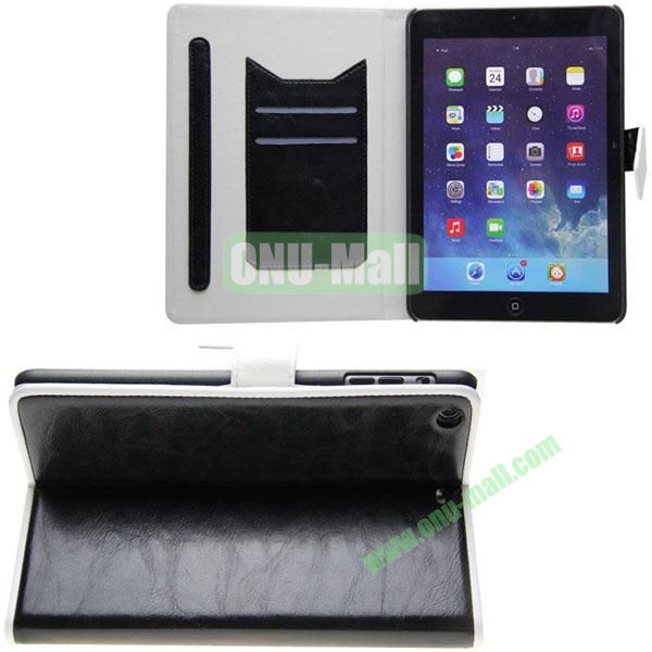 Double Color Crazy Horse Texture Leather Case for iPad Mini Retina  iPad Mini 3 With Gear Holder and Card Slots (Black+White)