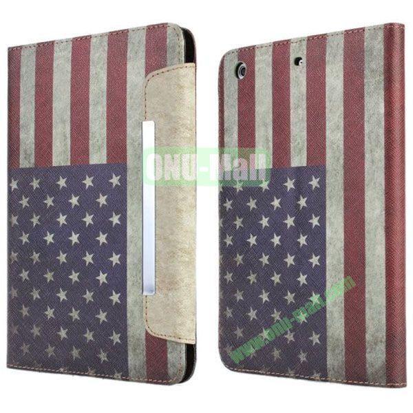 Retro Style USA Flag Leather Case for iPad Mini Retina  iPad Mini 3 with Card Slots and Holder