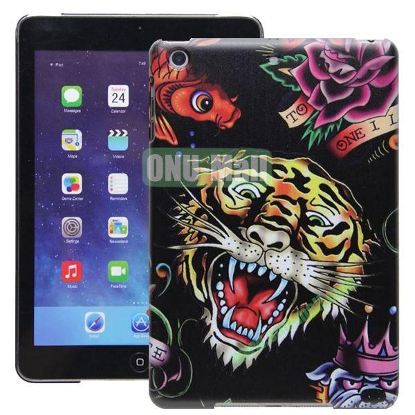 High Quality Cartoon Pattern Tiger Head Design Hard Plastic Case for iPad Mini Retina iPad Mini 2  iPad Mini 3