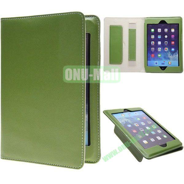 Ultrathin Retro Cross Texture Leather Smart Cover for iPad Mini Retina  iPad Mini 3 (Green)