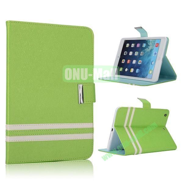 Cross Texture Stand Flip Leather Case with Card Slots and Magnetic for iPad Mini Retina  iPad Mini 3 (Green)