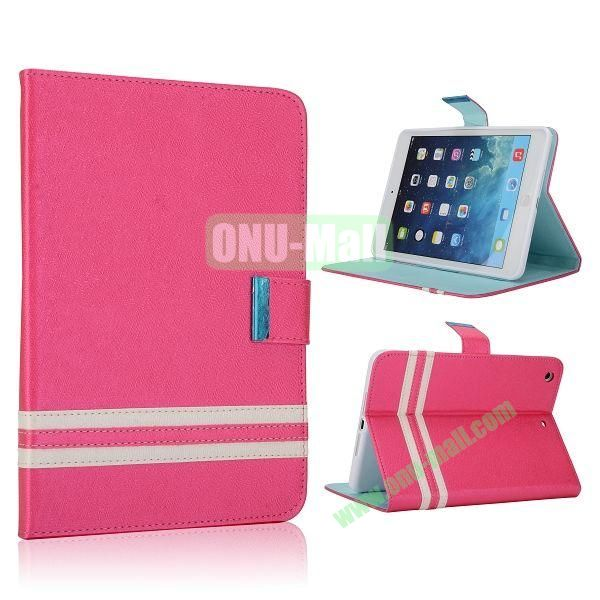 Cross Texture Stand Flip Leather Case with Card Slots and Magnetic for iPad Mini Retina  iPad Mini 3 (Rose)