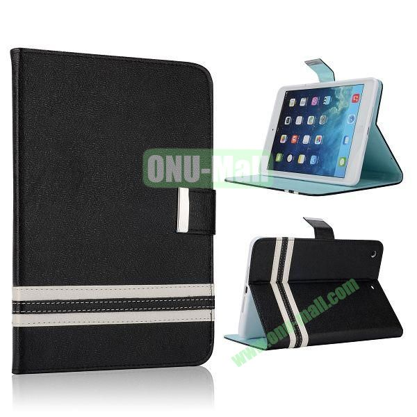 Cross Texture Stand Flip Leather Case with Card Slots and Magnetic for iPad Mini Retina  iPad Mini 3 (Black)