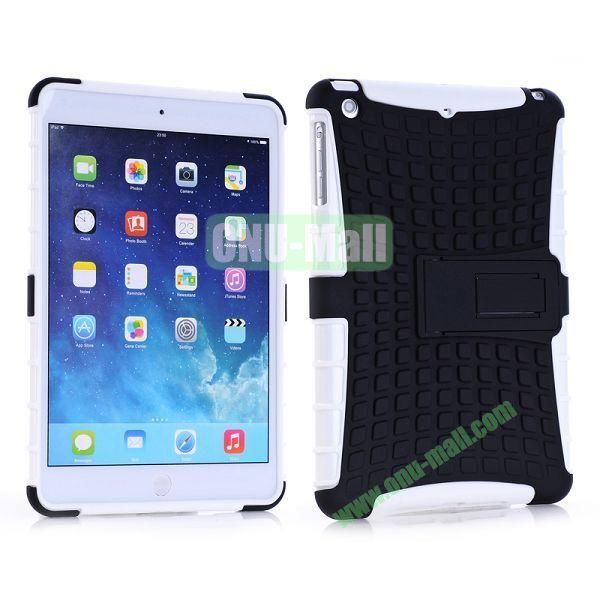 Detachable Skidproof Silicon + PC Hybrid Hard Back Case With Holder for iPad Mini  Mini Retina (White+Black)