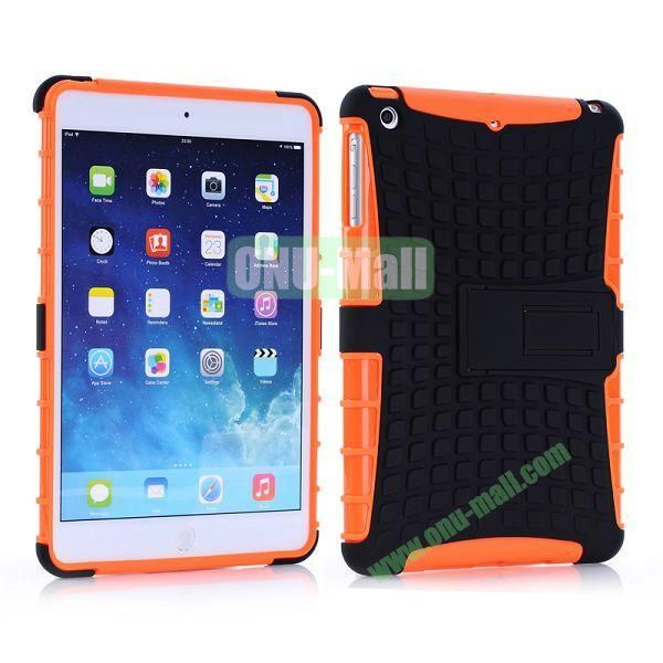 Detachable Skidproof Silicon + PC Hybrid Hard Back Case With Holder for iPad Mini  Mini Retina (Orange+Black)