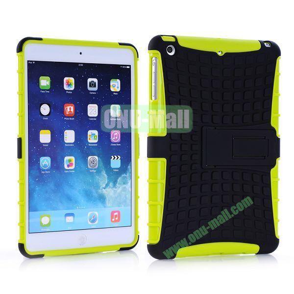 Detachable Skidproof Silicon + PC Hybrid Hard Back Case With Holder for iPad Mini  Mini Retina (Green+Black)