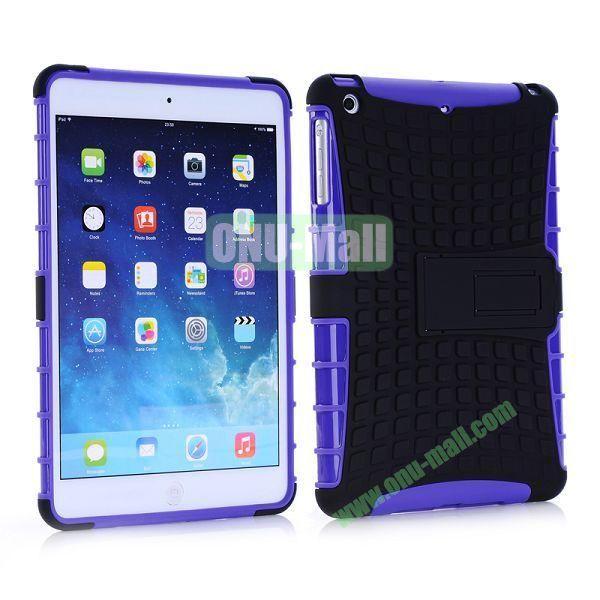 Detachable Skidproof Silicon + PC Hybrid Hard Back Case With Holder for iPad Mini  Mini Retina (Purple+Black)