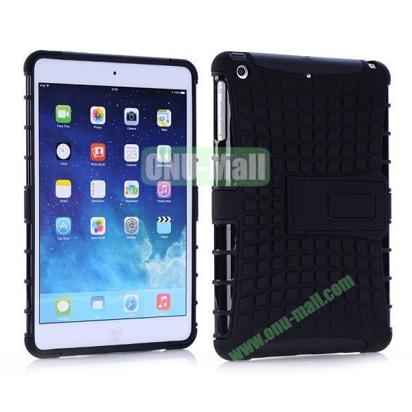 Detachable Skidproof Silicon + PC Hybrid Hard Back Case With Holder for iPad Mini  Mini Retina (Black)