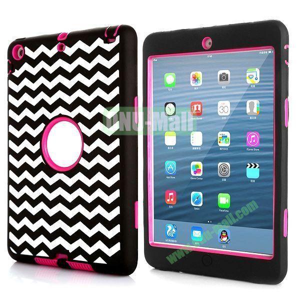 3 in 1 Dual Color Waves Stripes Design Hybrid Silicone + PC Hard Case for iPad Mini Retina  iPad Mini 3 (Black+Rose)